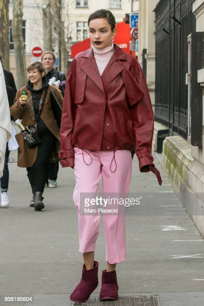 Model Luma Grothe arrives on the set of new 'L'Oreal' shooting at 'Broken Arm Cafe' on March 26 2018 in Paris France