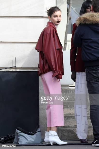 Model Luma Grothe is seen on the set of new 'L'Oreal' shooting at 'Broken Arm Cafe' > on March 26 2018 in Paris France
