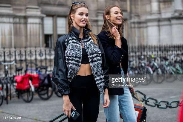 Model Luna Bijl and Birgit Kos is seen outside Redemption during Paris Fashion Week Womenswear Spring Summer 2020 on September 26, 2019 in Paris,...