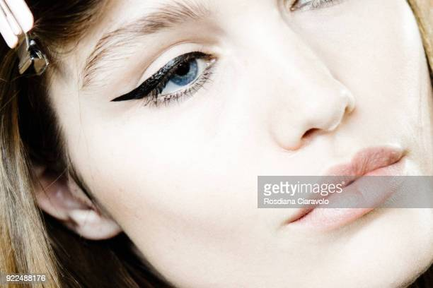 Model Luna Bijl beauty detail is seen backstage ahead of the Alberta Ferretti show during Milan Fashion Week Fall/Winter 2018/19 on February 21 2018...