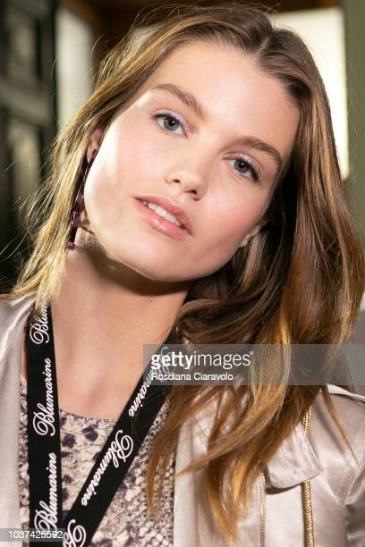 Model Luna Bijl is seen backstage ahead of the Blumarine show during Milan Fashion Week Spring/Summer 2019 on September 21 2018 in Milan Italy