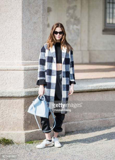 Model Luna Bijl seen outside Alberta Ferretti during Milan Fashion Week Fall/Winter 2018/19 on February 21 2018 in Milan Italy
