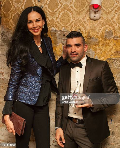 Model L'Wren Scott and Winner of Diet Coke Young Designer Challenge Gustavo Alonso attend Glamour Live Presented By Diet Coke at The Box on September...