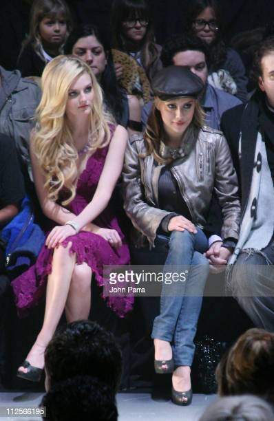 Model Lydia Hearst Actor Brittany Murphy and Simon Monjack attends Diesel Fall 2008 during MercedesBenz Fashion Week at theTent at Bryant Park on...