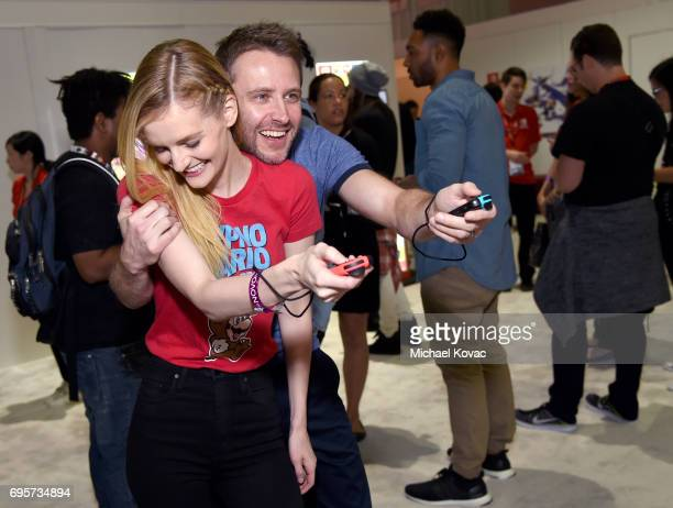 Model Lydia Hearst and comedian Chris Hardwick visit the Nintendo booth at the 2017 E3 Gaming Convention at Los Angeles Convention Center on June 13,...