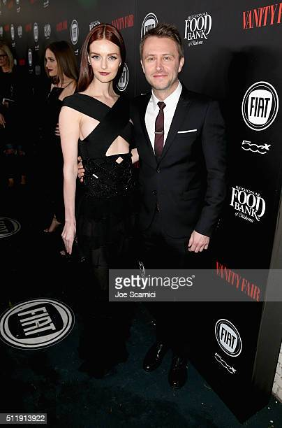 Model Lydia Hearst and tv personality Chris Hardwick attend Vanity Fair and FIAT Young Hollywood Celebration at Chateau Marmont on February 23 2016...