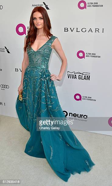 Model Lydia Hearst attends Neuro at the 24th Annual Elton John AIDS Foundation's Oscar Viewing Party at The City of West Hollywood Park on February...