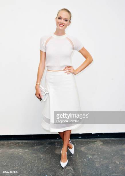 Model Lyndsay Ellingson attends the Nonoo fashion show during MercedesBenz Fahion Week Spring 2015 at 775 Washington Street on September 5 2014 in...