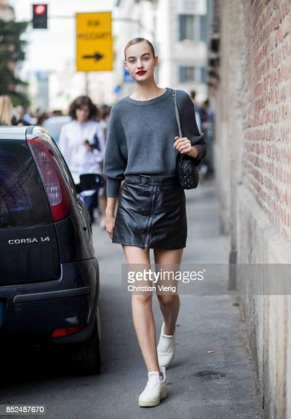 Model Maartje Verhoef is seen outside Ermanno Scervino during Milan Fashion Week Spring/Summer 2018 on September 23, 2017 in Milan, Italy.