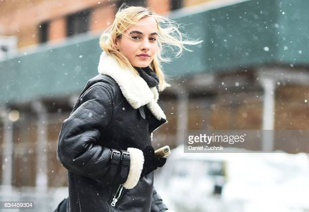 Model Maartje Verhoef is seen wearing a leather coat with fur trim outside of the Brock Collection show during New York Fashion Week Women's...