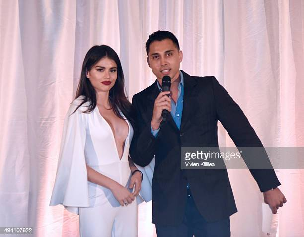 Model Mabelynn Capeluj receives the award for best dressed from host Shawn Weinstein at the Pia Gladys Perey Spring/Summer 2016 Fashion Show at...