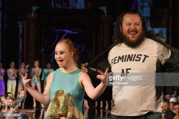 Model Madeline Stuart and designer Duane Topping walk the runway during the TOPPING DESIGN show at New York Fashion Week Powered By Art Hearts...