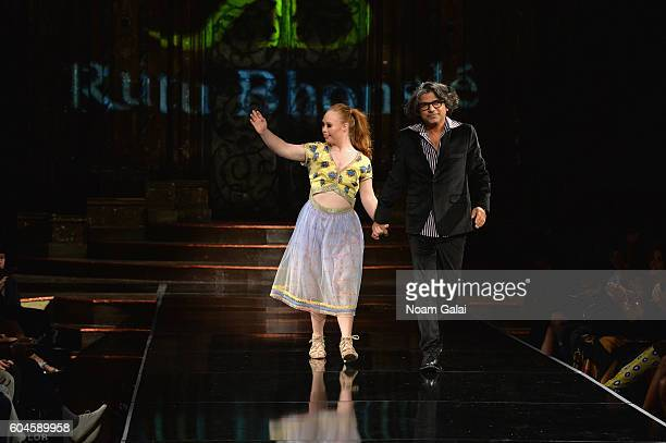 Model Madeline Stuart and designer Rutu Bhonslé walk the runway wearing Rutu Bhonslé at Art Hearts Fashion September 2016 during New York Fashion...