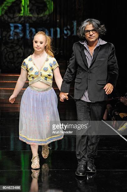 Model Madeline Stuart and designer Rutuparna Bhonsle' walk the runway wearing Rutu Bhonsle' at Art Hearts Fashion NYFW The Shows presented by AIDS...