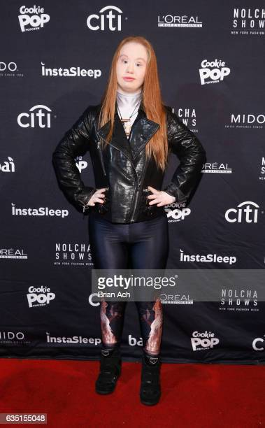 Model Madeline Stuart attends the front row during Nolcha Shows Runway New York Fashion Week Fall Winter 2017 at ArtBeam on February 13 2017 in New...