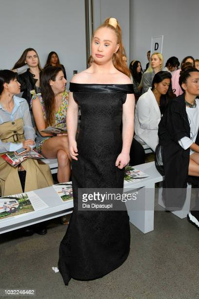 Model Madeline Stuart attends the Marcel Ostertag front Row during New York Fashion Week The Shows at Gallery II at Spring Studios on September 12...