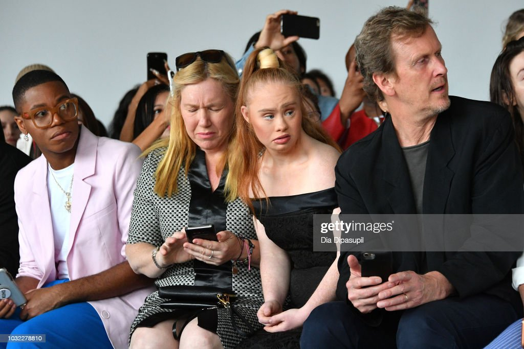 Model Madeline Stuart (C) attends the Marcel Ostertag front Row during New York Fashion Week: The Shows at Gallery II at Spring Studios on September 12, 2018 in New York City.