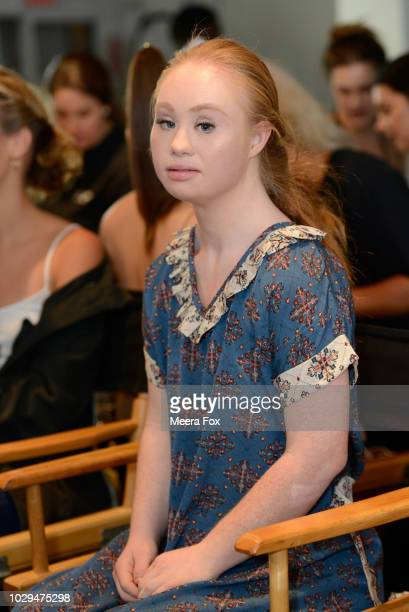 Model Madeline Stuart prepares backstage during New York Fashion Week Powered By Art Hearts Fashion at The Angel Orensanz Foundation on September 8...