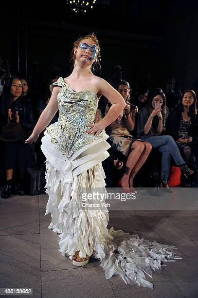 Model Madeline Stuart walks the runway at Hendrik Vermeulen Spring 2016 during New York Fashion Week at Vanderbilt Hall at Grand Central Terminal on...