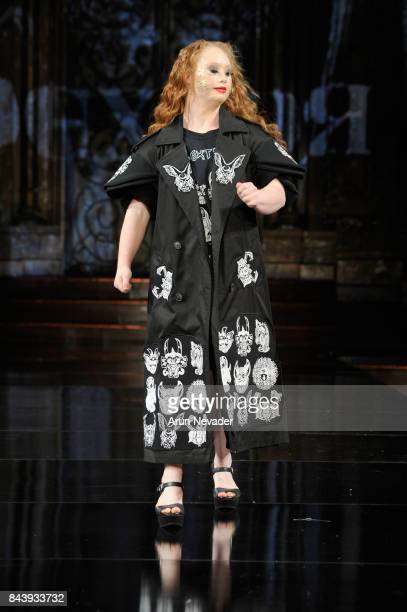 Model Madeline Stuart walks the runway for Dexter Simmons Fashion Show at Art Hearts Fashion SS/18 at The Angel Orensanz Foundation on September 7...