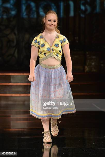 Model Madeline Stuart walks the runway wearing Rutu Bhonslé at Art Hearts Fashion September 2016 during New York Fashion Week The Shows on September...