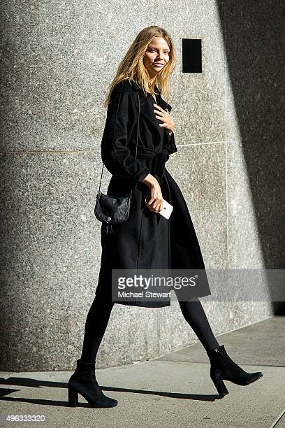 Model Magdalena Frackowiak is seen in Midtown on November 8 2015 in New York City
