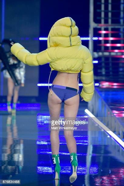 Model Maggie Laine walks the runway during the 2017 Victoria's Secret Fashion Show In Shanghai at MercedesBenz Arena on November 20 2017 in Shanghai...