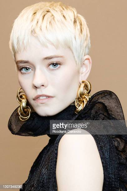 Model Maike Inga is seen backstage at the Alberta Ferretti fashion show on February 19, 2020 in Milan, Italy.