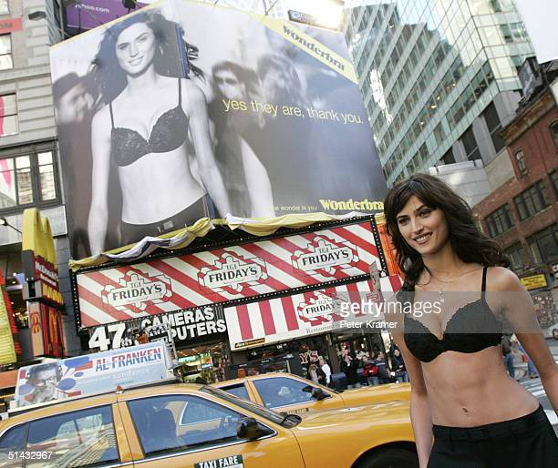 Model Maja unveils new Wonderbra billboard in Times Square to celebrate Wonderbra's 10th Anniversary on October 6 2004 in New York City