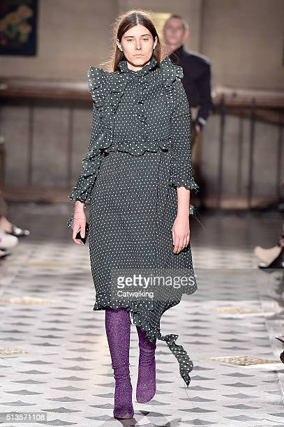 Model Maja Zupancic walks the runway at the Vetements Autumn Winter 2016 fashion show during Paris Fashion Week on March 3 2016 in Paris France