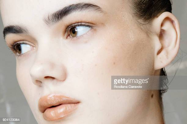 Model, make up detail, Hannah Sprehe is seen backstage ahead of the Philosophy Di Lorenzo Serafini show during Milan Fashion Week Fall/Winter 2018/19...
