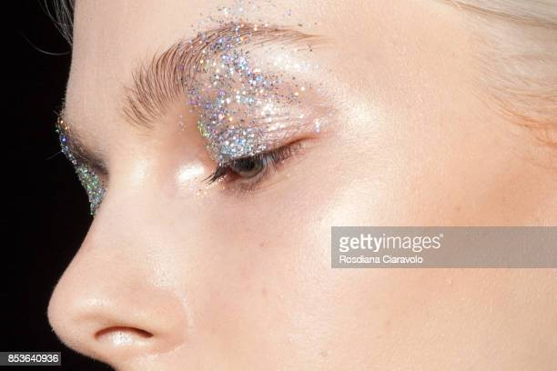 A model make up detail is seen ahead of the Stella Jean show during Milan Fashion Week Spring/Summer 2018 on September 24 2017 in Milan Italy