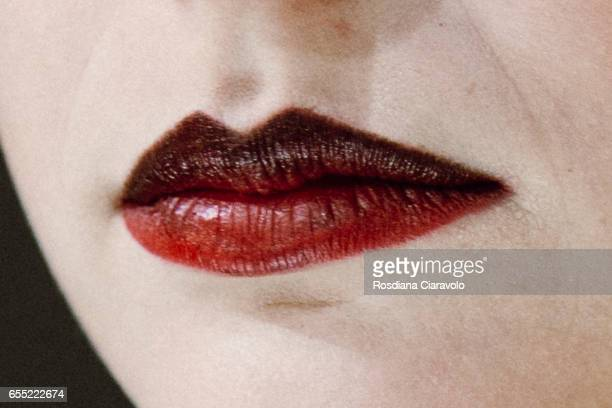 A model make up detail is seen at LA TRUCCHERIA MAKE UP FOR EVER stand during the 50th Cosmoprof on March 18 2017 in Bologna Italy