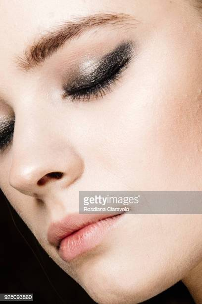 A model make up detail is seen backstage ahead of the PiccionePiccione show during Milan Fashion Week Fall/Winter 2018/19 on February 25 2018 in...