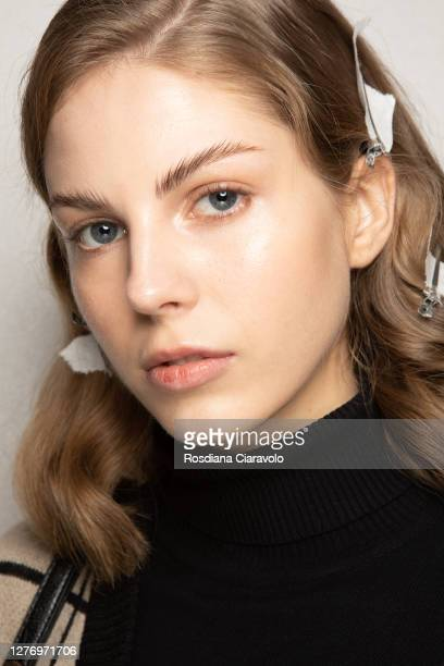 Model, make up detail, is seen backstage at the Shi.Rt fashion show during the Milan Women's Fashion Week on September 27, 2020 in Milan, Italy.