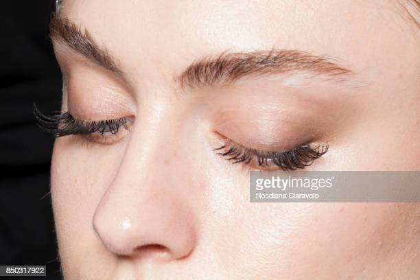 Model make up detail is seen in backstage ahead of the N21 show during Milan Fashion Week Spring/Summer 2018 on September 20 2017 in Milan Italy