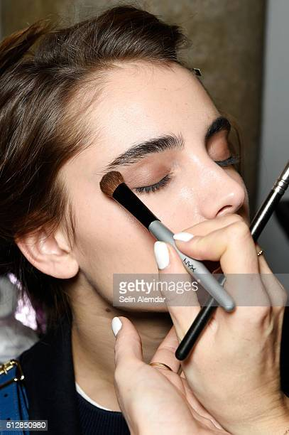 A model makeup detail is seen backstage ahead of the Trussardi show during Milan Fashion Week Fall/Winter 2016/17 on February 28 2016 in Milan Italy