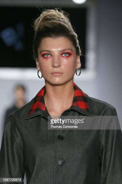A model makeup detail walks the runway at STYLE360 hosts DFBKDefend Brooklyn sponsored by Skechers Sony Be Alpha on September 11 2018 in New York City
