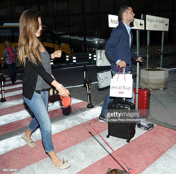 Model Malena Costa and football player Mario Suarez are seen on April 6 2014 in Madrid Spain