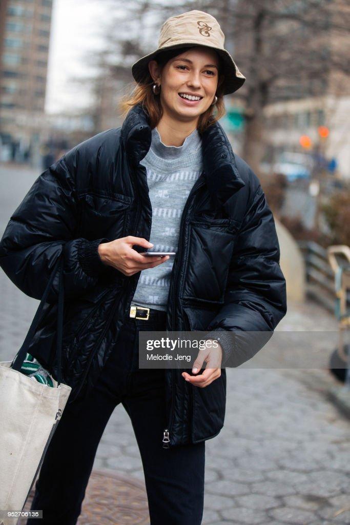 Model Mali Koopman Wears A 976 Tan Bucket Hat Black Puffer Jacket News Photo Getty Images