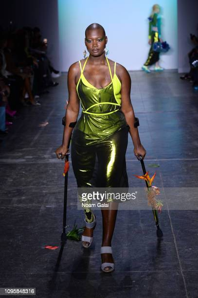 Model Mama Cax walks the runway for the Chromat fashion show during New York Fashion Week The Shows at Industria Studios on February 8 2019 in New...