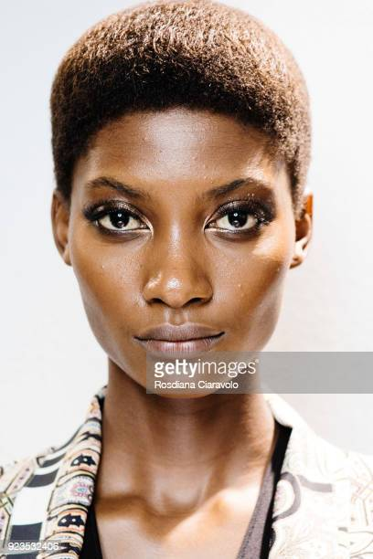 Model Mame Camara is seen backstage ahead of the Etro show during Milan Fashion Week Fall/Winter 2018/19 on February 23 2018 in Milan Italy