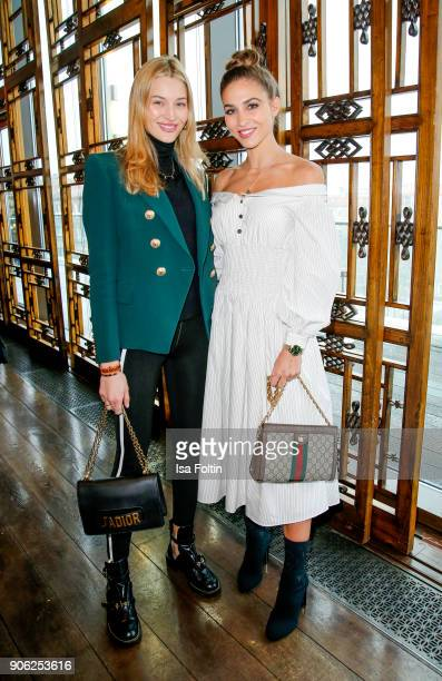 Model Mandy Bork and model AnnKathrin Broemmel attend the Thomas Sabo Press Cocktail during the MercedesBenz Fashion Week Berlin A/W 2018 at China...