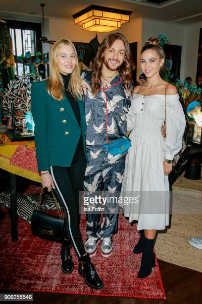 Model Mandy Bork influencer Riccardo Simonetti and model AnnKathrin Broemmel attend the Thomas Sabo Press Cocktail during the MercedesBenz Fashion...