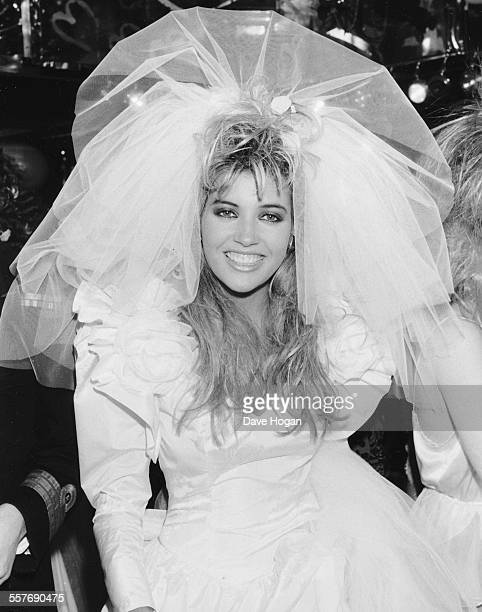 Model Mandy Smith dressed as a bride for a fashion show at Stringfellows night club London October 2nd 1986