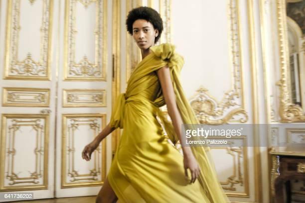 Model Manuela Sanchez poses Backstage prior the Giambattista Valli Spring Summer 2017 show as part of Paris Fashion Week on January 23 2017 in Paris...