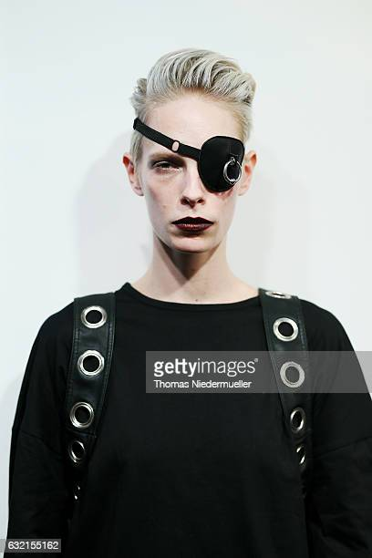 Model Manush is seen backstage ahead of the DEPRESSION show during the MercedesBenz Fashion Week Berlin A/W 2017 at Kaufhaus Jandorf on January 20...