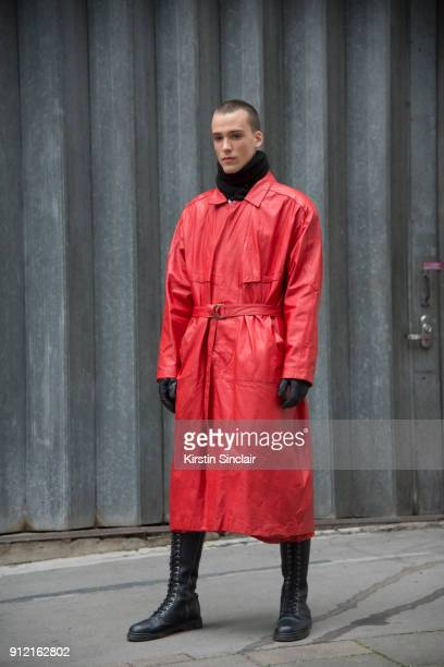 Model Marc Luloh wears a vintage jacket and Demonia boots day 3 of London Mens Fashion Week Autumn/Winter 2018 on January 08 2018 in London England