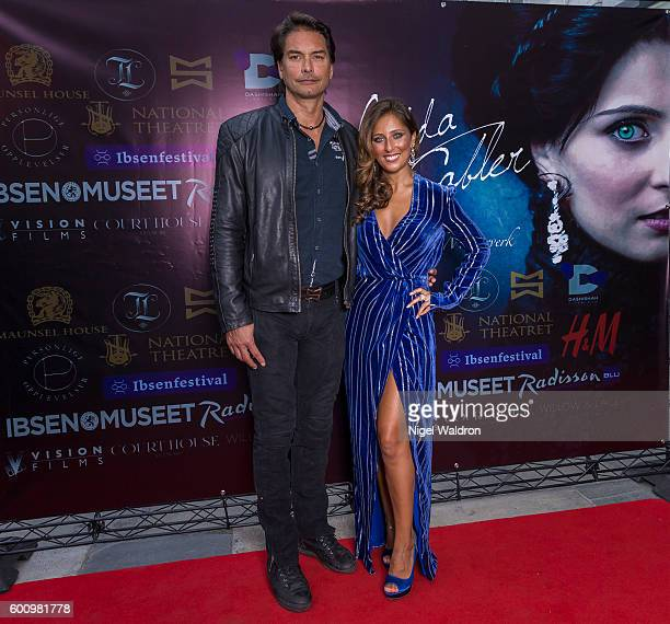 Model Marcus Schenkenberg Actress Rita Ramnani attends the Norwegian premiere of Hedda Gabler held at the Vika Cinema on September 08 2016 in Oslo...