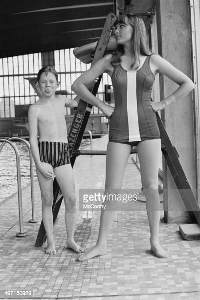 Model Margaret Middleton wearing a swimsuit designed by Hardy Amies to be worn by British athletes at the 1968 Olympic Games in Mexico City11th June...